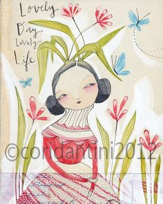 whimsical watercolor painting of a lady with butterflies  by corid, $20.00