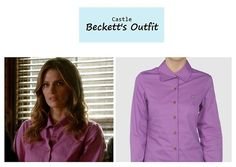 "On the blog: Kate Beckett's (Stana Katic) purple button down shirt | Castle - ""The Greater Good"" (Ep. 619) #tvstyle #tvfashion #outfits #fashion"