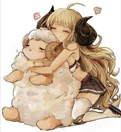 Cute manga girl with horns and an aries ♡ the sheep is so cuddly!