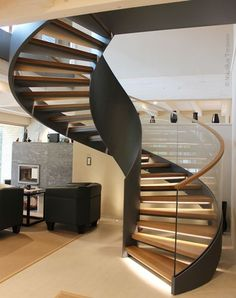 Wooden spiral stairs curved staircase 62 Ideas for Rustic Staircase, Staircase Railings, Curved Staircase, Spiral Staircases, Staircase Makeover, Spiral Stairs Design, Railing Design, Staircase Design, Railing Ideas