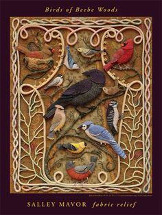 Many 3D birds shown, some with patterns and step by step .... the needlework is amazing, but i wonder if I can simplify for some of my home dec projects that use 3D birds