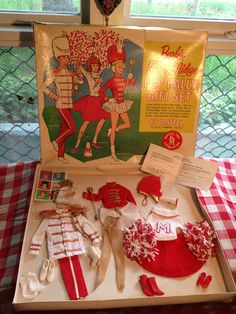 EXTREMELY RARE Vintage Barbie Pep Rally Gift Set Complete Outfits Drum Majorette- just sold under  $ 999.99