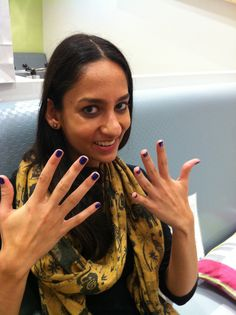 "Guest shows off her OPI, ""Tomorrow Never Dies,"" manicure at the Miniluxe Hingham Grand Opening Blogger Event!"