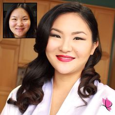 Absolutely stunning inside and out, we take a walk down #memorylane this #MakeoverMonday with our Spring bride Tiffany rockin' a beautiful bold #redlip #beforeandafter #bridalbeauty #makeupandhair by Kay and Christopher of #kayanabeauty #kayanabeautytrends