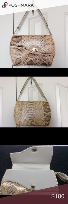 "VINTAGE GENUINE RATTLESNAKE SNAKESKIN  PURSE From around 1970. Gray beige Tone. Red interior. Little use. Some wear on strap. Adjustable from hand carry (8"" long) to shoulder length (15"" long)       11"" x 8"" x 4"" Deep. Approximately Bags Shoulder Bags"