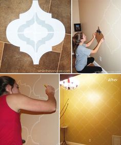 "Who says art has to mean anything, or require any creativity whatsoever? Here are some cheap, simple ideas to decorate an otherwise boring wall. Make your own Moroccan stenciled ""wallpaper"""