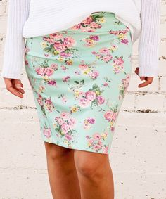 Look at this Mint Floral Pencil Skirt on #zulily today!