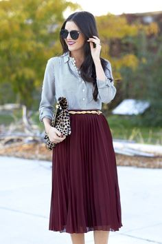 "Best Engagement Outfit Ideas For Women in 2017  - ""When you love someone, you don't allow yourself to see perfection in anyone else"". That's not one of relationships' clichés, because a good ... -  gold-belt-maroon-pleated-midi-skirt ."