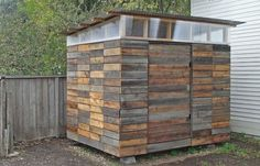 Garden Shed Made from Reclaimed Redwood #Garden, #Reclaimed, #Repurposed