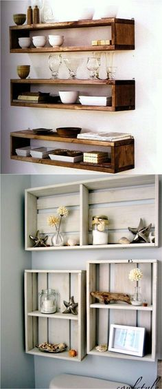 16 easy tutorials on building beautiful floating shelves and wall shelves for your home! Check out all the gorgeous brackets, supports, finishes and d. 16 Easy and Stylish DIY Floating Shelves & Wall Shelves Easy Home Decor, Floating Shelves Diy, Diy Home Decor, Cheap Home Decor, Home Diy, Shelves, Diy Furniture, Floating Wall Shelves, Home Decor