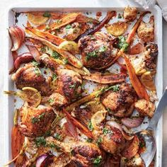 A bright citrus kick is just the thing for cold nights. This sheet pan supper gets a double dose from thin lemon slices roasted until ten...