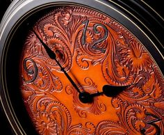 Carved Leather Art   Made Carved Leather Wall Clock by Clair Kehrberg Fine Leather Art ...