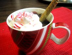 visiting teaching gift - chocolate mug cake that looks like hot chocolate!  CHOCOLATE NEVER FAILETH! <3