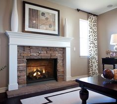 Stacked Stone Fireplace Surround fireplace surround, simple mantle, raised hearth, stone colour