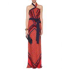 Vionnet... Flawless dep v back printed halter gown!!!!!