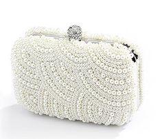 Soft Cream Deco Pearl Wedding Minaure Clutch Purse With Jeweled Clasp