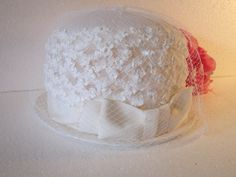 Ladies White Wedding Hat - vintage netting over crown with grosgrain ribbon gown small trim design small brim timelesspeony - pinned by pin4etsy.com