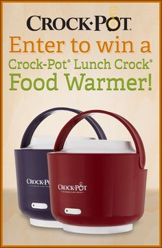 To celebrate the new design of the Crock-Pot® Lunch Crock® Food Warmer, we're giving you a chance to win one! Enter our Pinterest contest today -- visit http://on.fb.me/Rp2hVW to enter. Contest ends 5/2/14. Good luck! #CrockPot #SlowCooker #contest #pintowin