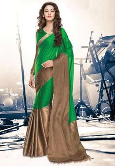 Green Color Cotton Casual Party Wear Sarees : Vidhita Collection YF-42794