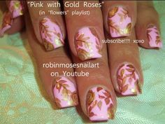Light pink with Gold Roses Nail Art Teacup Inspired