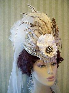 Victorian Hat~Mini Riding Hat~Wedding~Steampunk~Mini Top Hat~Fascinator~Feathers