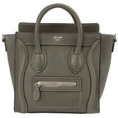 Celine Nano Luggage Leather Tote Bag (€1.695) ❤ liked on Polyvore featuring bags, handbags, tote bags, celine, grey, crossbody purses, celine tote, leather handbags, crossbody tote bag and crossbody tote