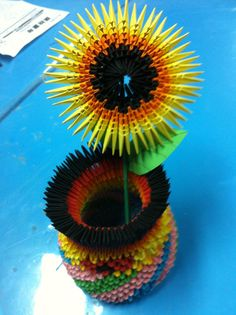 3D Origami – Origami Sunflower with Vase