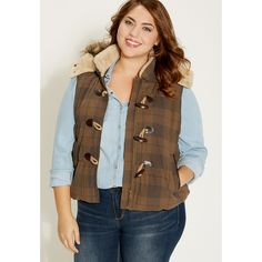 maurices Plus Size - Plaid Vest With Faux Fur Hood ($69) ❤ liked on Polyvore featuring outerwear, vests, green, plus size, faux fur lined vest, tartan vest, green plaid vest, zip up vest and plaid vest
