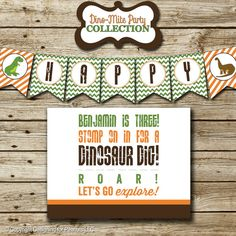 Dinosaur Birthday Party Pack: printable invitation, thank you, banner, sign, party circles, favor tags, food/drink label
