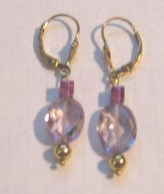 Amethyst Earrings by treasuresbycathy on Etsy, $19.95 Gemstone Jewelry, Gold Jewelry, Jewellery, Amethyst Earrings, Solid Gold, Swarovski Crystals, Gemstones, Purple, Metal