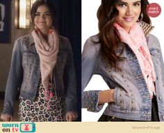 Aria's denim studded jacket  and pink scarf on Pretty Little Liars. Outfit Details: http://wornontv.net/25899 #PrettyLittleLiars #fashion #PLL