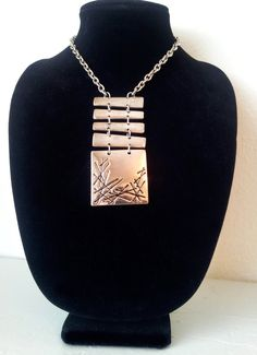 "Modernist Silver Tone Kinetic Statement Necklace with Chain - Embossed Breastplate signed ""R"""