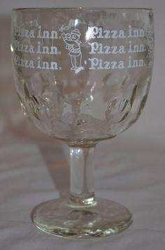 VINTAGE PIZZA INN GLASS MUG ~ Heavy Thumbprint Goblet ~ Restaurant Advertising #PizzaInn #HeavyThumbprintGoblet