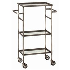 6441  Leon Iron/Mirror Bar Cart  Natural Iron/Antique Mirror  $475.00        Specifications  Dimensions: H: 37'' • W: 18'' • D: 12''