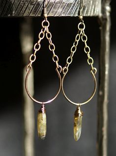 love the style with chain, wire, and drop bead                              …