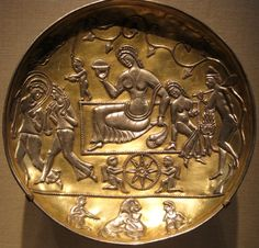 Plate made of sliver and gilt from the Sasanian Period (5th-7th century CE). The capital of the Sassanid Persian Empire: Seleucia-Ctesiphon (modern-day Baghdad) was one of the greatest cities of Mesopotamia. Freer and Sackler Galleries of the...