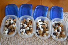 Smores on the go... INGREDIENTS:   Golden Grahams cereal     mini marshmallows  chocolate chips