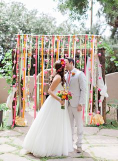 DIY Neon Wedding - Inspired By This. #weddingceremony #altarideas
