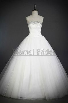 Strapless Tulle Ball Gown Neckline with crystal beads/Ball Wedding Dresses corset closure
