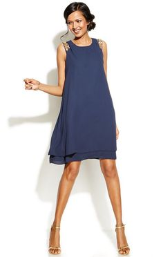 Alfani Prima Jeweled Cutout-Shoulder Shift Dress ($100)