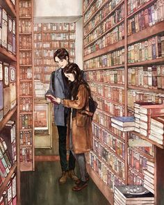 The first time we met, it was in that library. It was quite funny, really: I was frantically looking for a book for a school project, when I saw he had it. And he wouldn't let go of it! In the end we decided to read it together though