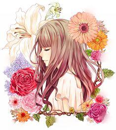 「・。*Bouquet*。・」/「若月 葉」のイラスト [pixiv] #女の子#花#新着で見れた幸せ#新着で見れてすごく幸せ#ふつくしい#クリック推薦#もっと評価されるべき#pixiv