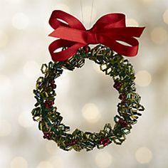 Beaded Wreath Christmas Ornament