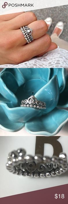 Princess Ring Non-brand princess crown ring in size 6. Stamped 925, Sterling silver with an antique silver finish. Very beautiful and high quality Ring. Jewelry Rings