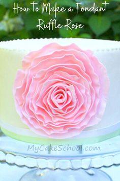 Fondant Ruffles, Fondant Flower Cake, Fondant Rose, Flower Cakes, Fondant Baby, Buttercream Flowers, Rose Cake Tutorial, Fondant Flower Tutorial, Cake Decorating Videos