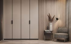 A Cashmere Feel in the Apartment in Berlin by Dezest Design - An interior space designed with a stellar cashmere color palette. Apartment Interior, Apartment Design, Home Interior, Apartment Kitchen, Apartment Living, Living Room, Wardrobe Door Designs, Wardrobe Design Bedroom, Contemporary Apartment