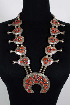 Native American Squash Blossom w/ Coral  Sterling Silver