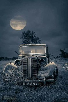 Old car in the moon light
