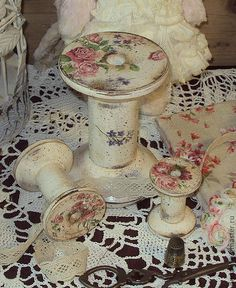 Shabby chic painted wood spools