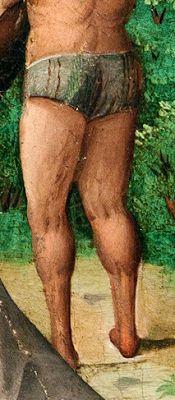 Bragas adornadas con tiras. Camino del Calvario, Maestro de Sijena o Sixena, hacia 1515-19, Retablo Mayor del Real Monasterio de Santa María de Sigena, Huesca